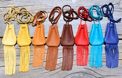 Handmade Leather Fringed Medicine Pouch