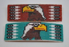 Hand Beaded Rectangular Barrette - Eagle Design