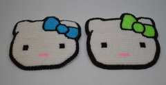 Hand Beaded Barrette with Kitty Face Design - Large