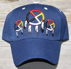 Ball Cap with Native American Design featuring Three Medicine Wheels on front