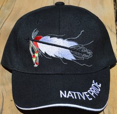Ball Cap with Native American Design featuring Native Pride Lettering and One Feather on Front