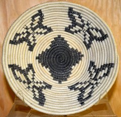 Hand Woven Papago Fine Coil Horsehair Basket with Butterflies Design