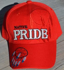 Ball Cap with Native American Design featuring Native Pride Lettering and Two Dream Catchers