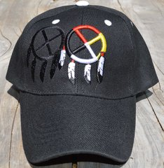 Ball Cap with Native American Design featuring Two Medicine Wheels on Front