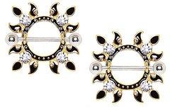 Gold Plated Jeweled Flaming Sun Nipple Shield 14g