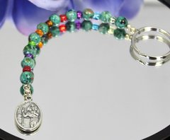 Multi Color Key Chain with St. Christopher/St. Anthony