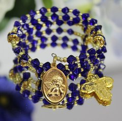 Blue and Gold Rosary Bracelet