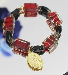 Red and Black Bead Guardian Angel/St. Michael Stretch Bracelet