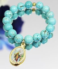 Blue St. Christopher Stretch Bracelet