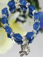 Blue Bead Dove Stretch Bracelet
