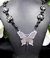 Butterfly with Lampwork and Czech Fire-polished Glass Beads.
