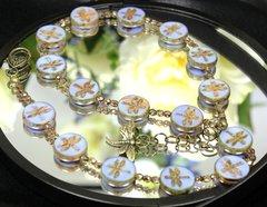 Blue Czech Glass Dragonfly Necklace