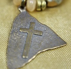 Bronze Flag Cross Necklace