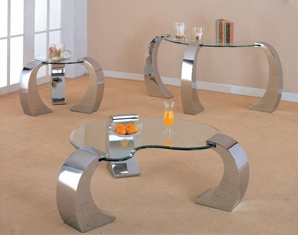 3 PIECES CUSTER SILVER METAL ROUND GLASS TOP COFFEE TABLE SET - Coaster 3 Pieces Silver Metal Round Glass Top Coffee Table Set