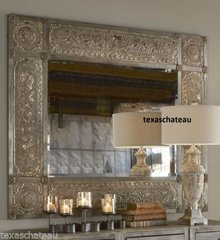 LARGE MOROCCAN OLD WORLD TUSCAN  STYLE EMBOSSED ANTIQUE SILVER LEAF METAL WALL MIRROR