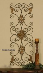 LARGE TUSCAN DECOR SCROLL WROUGHT IRON METAL WALL GRILL GRILLE ART PLAQUE