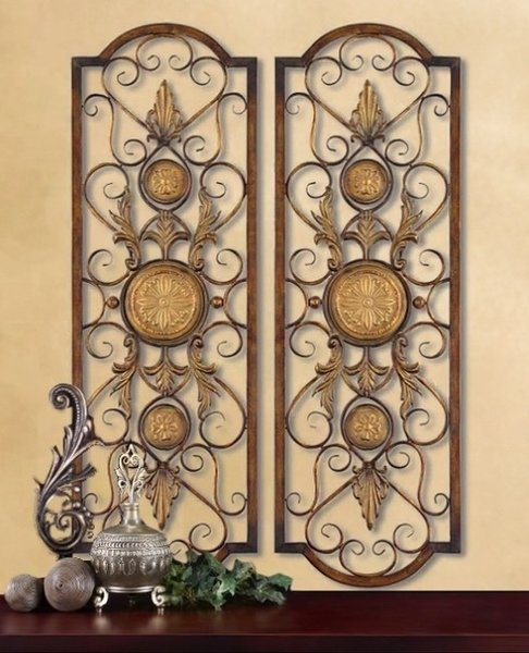 2 Large Tuscan Decor Scroll Wrought Iron Metal Wall Grille