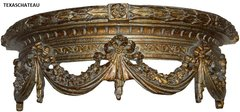 ORNATE ANTIQUE GOLD BED CROWN FRENCH REGENCY BAROQUE VINTAGE STYLE TEESTER WALL CANOPY