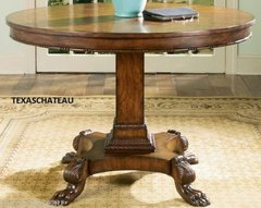 "Large Round 44"" FRENCH ENGLISH COUNTRY INLAID BURL PEDESTAL TABLE Round Accent Entr"