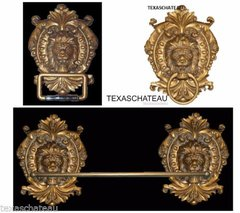 ORNATE GOLD BATH SET 1 TOWEL BAR 1 RING 1 TOILET PAPER HOLDER FRENCH HOLLYWOOD REGENCY BATHROOM