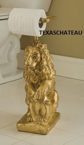 OLD WORLD ORNATE GOLD LION STANDING TOILET PAPER HOLDER STAND