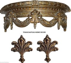 ORNATE ANTIQUE GOLD BED CROWN & TIEBACK FRENCH BAROQUE VINTAGE STYLE WALL CANOPY