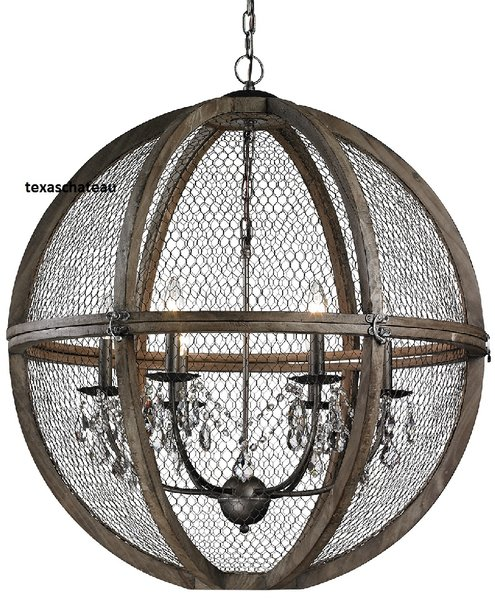 Large 30 french farmhouse wood chicken wire crystal sphere large 30 french farmhouse wood chicken wire crystal sphere chandelier pendant loft tuscan aloadofball Choice Image