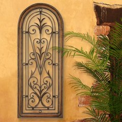 LARGE TUSCAN DECOR SCROLL WROUGHT IRON METAL WALL ART GRILLE GRILL PLAQUE