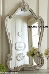 SHABBY FRENCH COUNTRY FARMHOUSE CHIC ~ WHITE ARCHED SCROLL WALL MIRROR ~ VANITY BATHROOM TUSCAN
