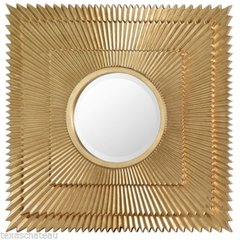 LARGE SQUARE ~ AZTEC GOLD SUNBURST MIRROR ~ TUSCAN MODERN HOLLYWOOD REGENCY WALL