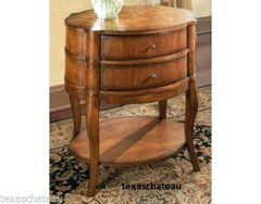 FRENCH ENGLISH COUNTRY STYLE ~ OVAL BURL PARQUET ACCENT TABLE ~ Side End BEDSIDE