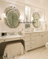 SET 2 ORNATE VENETIAN OVAL WALL MIRROR VANITY BATHROOM FRENCH ANTIQUE VINTAGE STYLE