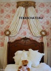 SHABBY FRENCH ANTIQUE GOLD BED CROWN & 2 TIEBACK SET VINTAGE CHIC STYLE WALL CANOPY TEESTER