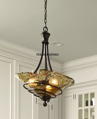 BRONZE & AMBER GOLD LIGHT FIXTURE PENDANT KITCHEN ISLAND TUSCAN FRENCH COUNTRY
