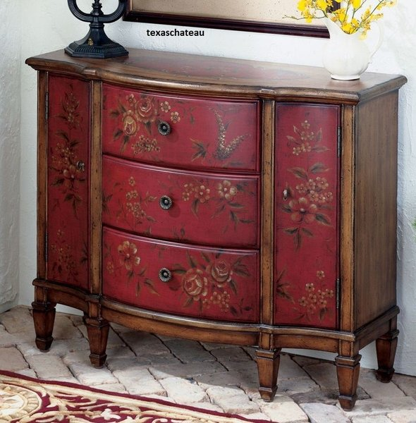 Tuscan Farmhouse Cottage Red Floral Cabinet Furniture Table Buffet Furniture Texaschateau