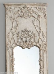 XL  LARGE DISTRESSED FRENCH ANTIQUE CREAM TRUMEAU MIRROR DRESSING LEANING LEANER