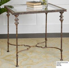 MODERN TUSCAN ANTIQUE GOLD BRONZE IRON END SIDE TABLE FRENCH FARMHOUSE