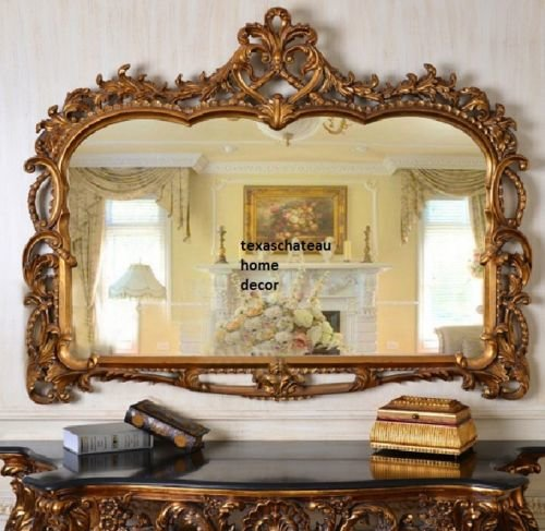 XL LARGE ORNATE ARCHED ANTIQUE GOLD WALL MIRROR BUFFET MANTEL FRENCH ...