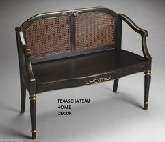 FRENCH COUNTRY ~ AGED BLACK & GOLD PAINTED WOVEN CANE SETTEE ~ BENCH CHAIR COUCH