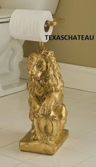 OLD WORLD ORNATE GOLD LION STANDING TOILET PAPER HOLDER STAND FRENCH REGENCY