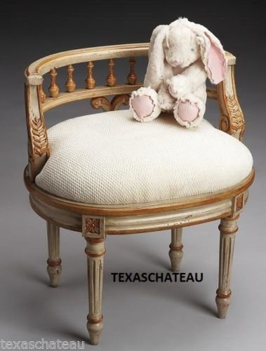 French Cream Amp Gold Painted Vanity Stool Chair Seat Bench