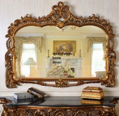 XL LARGE ORNATE ARCHED ANTIQUE GOLD WALL MIRROR BUFFET MANTEL FRENCH REGENCY NEW