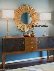LARGE ANTIQUE GOLD LEAF METAL SUNBURST STARBURST WALL MIRROR ROUND TRANSITIONAL MODERN TUSCAN BATHROOM