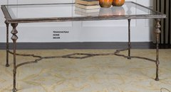 MODERN TUSCAN ANTIQUE GOLD BRONZE IRON COFFEE TABLE FRENCH FARMHOUSE
