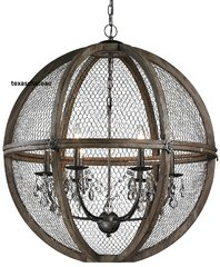 "LARGE 30"" FRENCH FARMHOUSE WOOD & CHICKEN WIRE & CRYSTAL SPHERE CHANDELIER PENDANT LOFT TUSCAN"