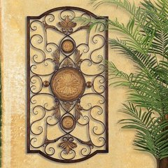 LARGE TUSCAN DECOR SCROLL WROUGHT IRON METAL WALL GRILLE GRILL WALL ART PLAQUE
