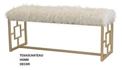 MODERN FRENCH CHINESE CHIPPENDALE BENCH GOLD & FAUX WHITE FUR HOLLYWOOD REGENCY
