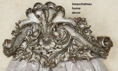ORNATE ANTIQUE SILVER BED CROWN FRENCH REGENCY BAROQUE VINTAGE STYLE WALL TEESTER CANOPy