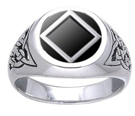 Narcotics Anonymous Celtic Ring With Black Onyx