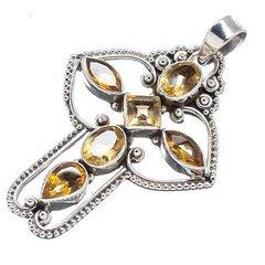 Citrine Cross 925 Stefling Silver Pendant